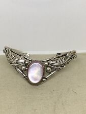 Vintage Sterling Silver Mother Of Pearl Grapes Leaves Cuff Bracelet 6.5  TUEBB
