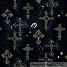 BonEful Fabric FQ Cotton Quilt Black Gray Gold Glitter CROSS Scroll Gothic Swirl
