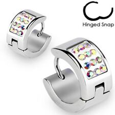 Pair Surgical Stainless Steel Hoop Earrings Paved Multi Aurora Borealis CZ(0321)