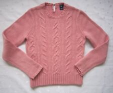 GAP WOMEN'S WOOL BLEND LONG SLEEVE CABLE KNIT PULLOVER SWEATER~SIZE M~PINK~NWOT