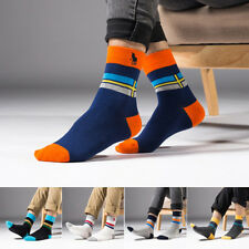 5 Pairs Lot Mens Business HJC Polo Casual cross Crew Combed Cotton Sport Socks