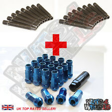 16 Wheel Stud Conversion kit GT50 Blue Nuts 75mm (+10) fit VW Lupo Polo UP
