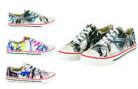 WOMENS TRAINERS SHOES GIRLS NEW LADIES FLAT CANVAS PUMPS LACE UP CASUAL SIZE 3-8