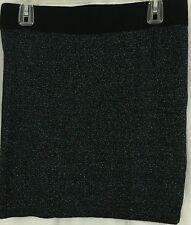 Forever 21 L Large Skirt Black Glitter Sparkling Metallic Mini Zippered