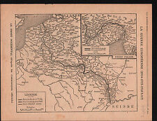 WWI Map Carte France Belgique /Prussia Poland Russia Germany 1917 ILLUSTRATION