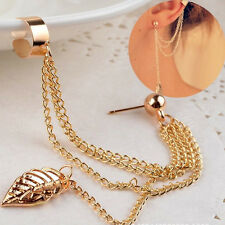 Women Fashion Punk Rock Leaf Chain Tassel Dangle Ear Cuff Wrap Earrings Ear Clip