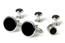NEW Mens Silver Black Genuine Onyx Classic Round Cuff Links & Studs Gift Box Set