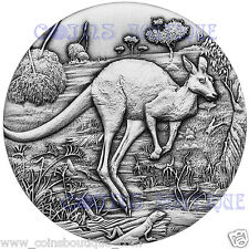 Australian Kangaroo 2oz High Relief silver coin antiqued 2016 plus Free BEE