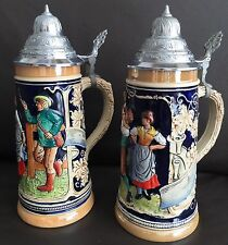 A Pair Of Vintage (1970s) Ceramic German Beer Steins In Perfect Condition