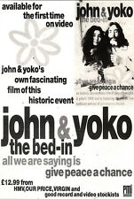 22/12/90 Pgn42 Advert: john & Yoko. The Bed-in On Video For First Time 7x5