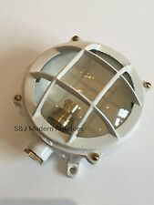 Industrial Wall Light Bulkhead Ceiling Antique Vintage Retro Lamp White Brass