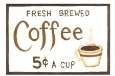 6x4 Wood Country Kitchen retro Primitive Wooden COFFEE 5C Wall Decor Sign Plaque