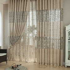 Grey Striped Pachira Drape Balcony Bedroom Living Room Window Drape Curtain