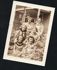 Old Vintage Antique Photograph Six Women in Cool Outfits Sitting in the Garden