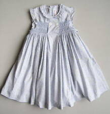 NECK & NECK Girls 6 (5?) Yrs Blue Floral Smocked Ruffled Dress EUC 106-118 cm