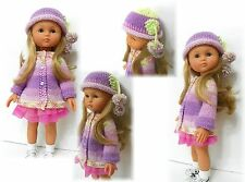 "Swing Coat, Hat and Scarf Knitted PATTERN for 13"" Les Cheries Corolle Doll"