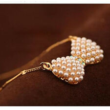 Women's Fashion Double Pearl Bow Pendant Necklace Elegant Jewelry Lover Gift
