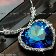 Sapphire Blue Heart of the Ocean Necklace Pendant Beautiful Valentine Gift  3