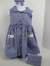 STRASBURG LN RED WHITE BLUE PLAID DRESS W/MATCHING PURSE & BOW 4th Of July SZ 2y