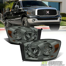 Smoked 2007-2009 Dodge Ram 1500 2500 Headlights Headlamps Replacement Left+Right