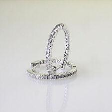 """Sterling Silver .25 Cttw Genuine Diamond .75"""" Hoop Earrings Hidden Snap Backs"""