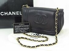 Authentic CHANEL Black Lambskin Leather Chain Shoulder Bag Purse #23324