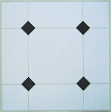 100 Vinyl Floor Tile Self Adhesive WHITE + BLACK DIAMONDS Area sqm 9.6 Unit 100