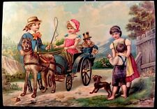 Lithograph Children In Cart Pulled By Great Dane and Monkey Footman Puzzle Card
