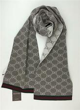 New Authentic Gucci 100% Wool Signature GG Scarf w Web Trim 325806