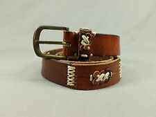 Express Compagnie International Leather Belt Distressed Brown 32 34