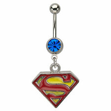 "Original Superman navel Belly Ring man of steel 14g 7/16"" length surgical steel"