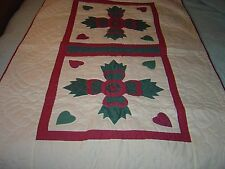 "AMISH MAUVE & GREEN BEAR PAW WALLHANGING QUILT SIZE 37""- 61"""