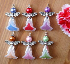 6x Angel Charms Pendants Lucite Flower Beads Silver Wings 2 Tones White