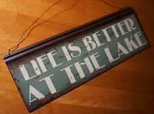 LIFE IS BETTER AT THE LAKE Sign Rustic Green Lodge Fishing Cabin Home Decor NEW