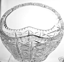 VINTAGE RUSSIAN,POLISH OR CZECH FINE CRYSTAL LARGE BASKET VASE BOWL W/UP HANDLE