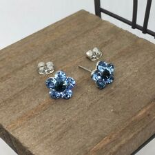 Blue Crystal Titanium Post Stud Earrings US Seller Made in Korea