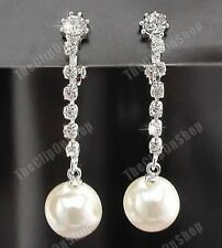 CLIP ON CREAM PEARL & DIAMANTE crystal EARRINGS