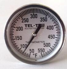 """Tel-Tru BQ225 BBQ Smoker Thermometer 2"""" Dial w/ 2.5"""" Stem Grill 550"""