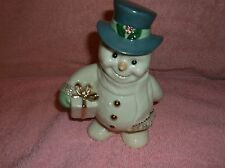 "Lenox Snowman holding gift blue top hat with gold trim 6"" Tall"