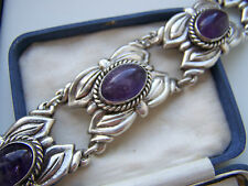 EXTREMELY RARE VINTAGE HEAVY STERLING SILVER 52 CT AMETHYST BRACELET BANGLE 8""