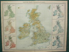 1921 LARGE MAP ~ BRITISH ISLES VEGETATION & CLIMATE TEMPERATURE ANNUAL RAINFALL