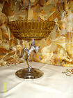 Vintage Art Deco nude lady amber pressed glass cake stand shabby chic