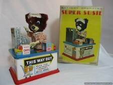 Vintage 1950's Marx Linemar Super Susie Japan Battery Tin Toy Working With Box