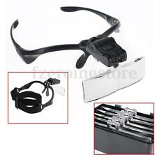 Adjustable Hands Free Glass LED Head Lamp Light Magnifier Loupe Watch Jewellery
