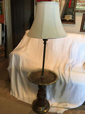 Rustic Vintage Floor Lamp With Built In Circular Center Table For Drinks 52""