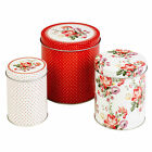 3 Katie Alice Vintage Style Scarlet Posy Flowers Nested Kitchen Storage Tins Set
