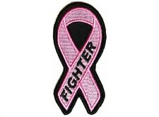 "(F4) BREAST CANCER FIGHTER PINK RIBBON 1.5"" x 3.2"" iron on patch (4767)"