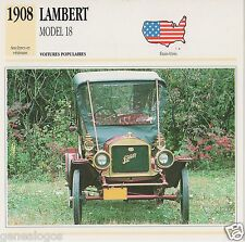 FICHE AUTOMOBILE GLACEE US USA CAR LAMBERT MODEL 18 1908