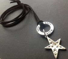 Bijoux black suede long necklace with tibetan lucky Star charm boho festival