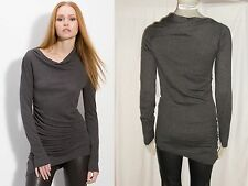 NWT $208 Nordstrom LEITH Draped Gathered Asymmetric Soft Knit Tunic Gray SALE L